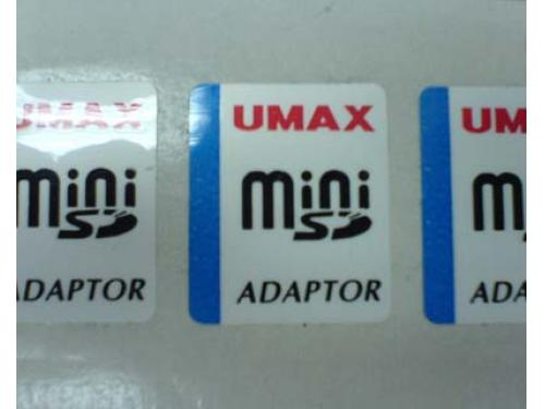 Memory card packaging sticker